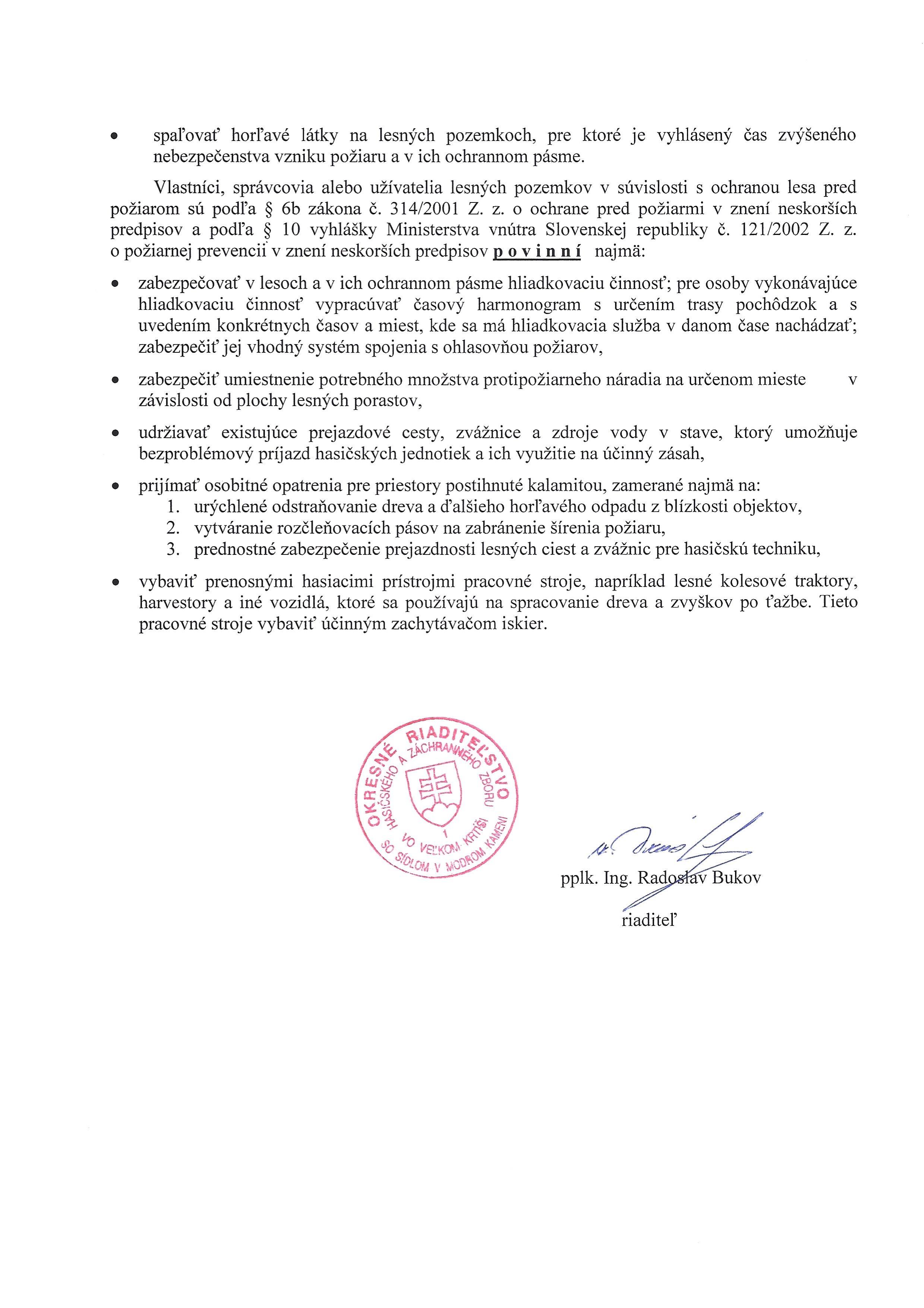 vyhlásenie času zvýšeného nebezpečenstva vzniku požiaru v okrese Veľký Krtíš od 2.7.2019